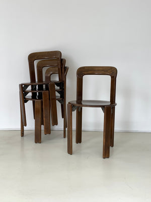 "Set of 4 Brown 1970s Bruno Rey ""Rey Chairs"""