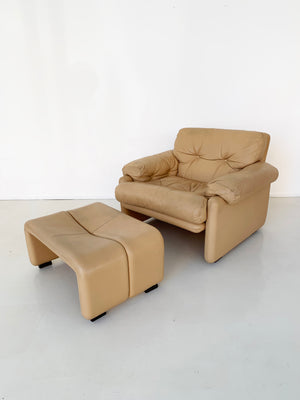 1970s Tobia Scarpa Coronado Tan Leather Club Chair and Ottoman for B&B Italia