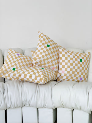 Beige And White Checkerboard Pillow