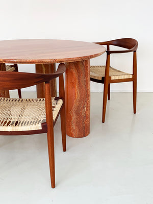 "1970s Solid Persian travertine Mario Bellini ""Colonnato"" Round Dining Table for Cassina, Italy"