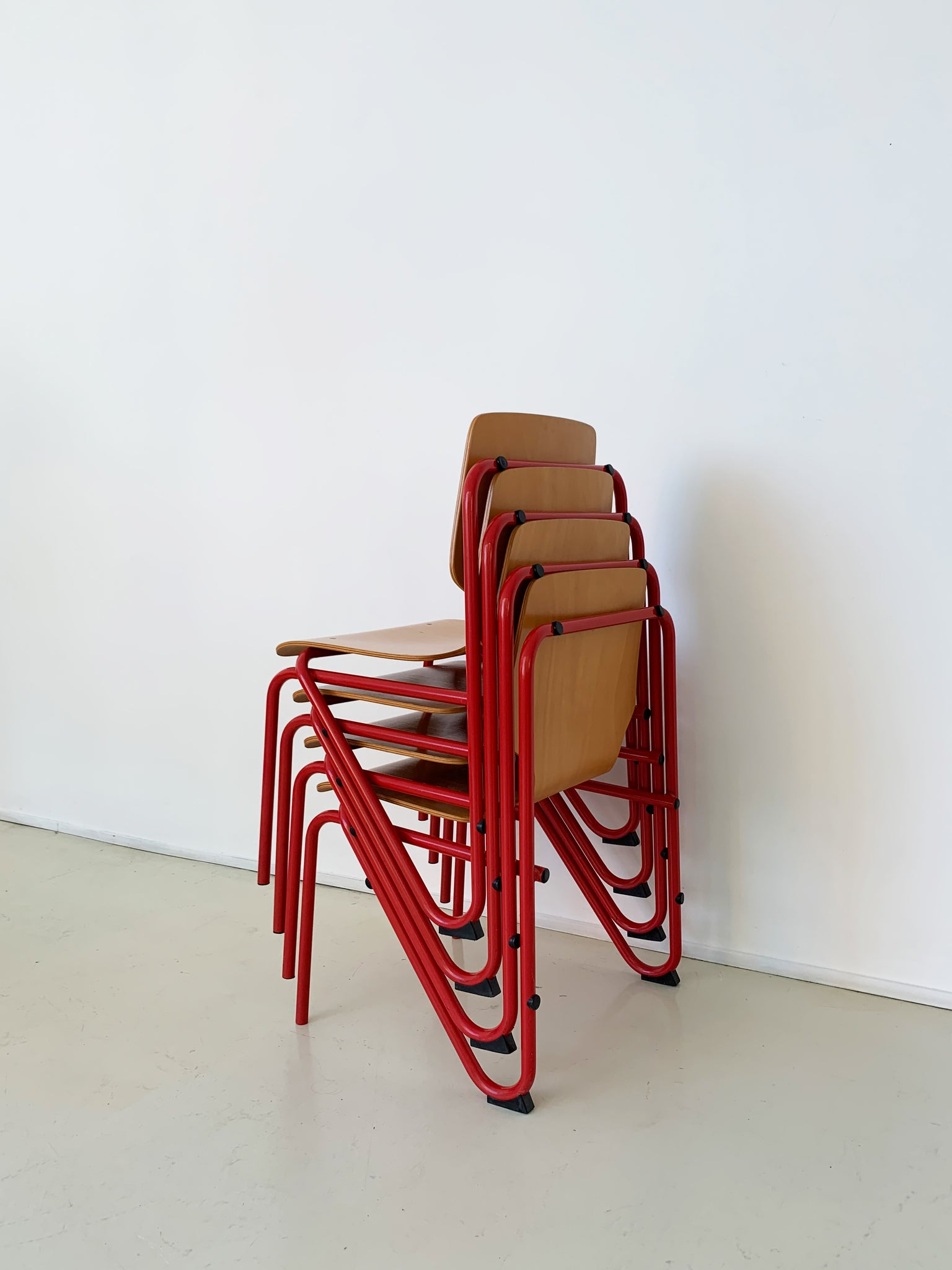 1970s Bent Metal and Bent Beech Stacking Chairs- Set of 4