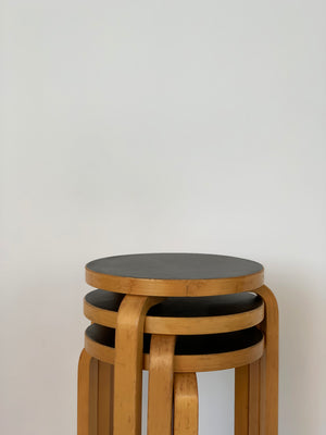 1960s Black Top Authentic Alvar Aalto Beech 3-Legged Stacking Stools