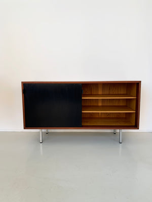 1964 Walnut and Black Lacquer Florence Knoll Credenza