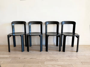 1970s Black Stained Rey Stacking Chairs by Bruno Rey - Set of 4