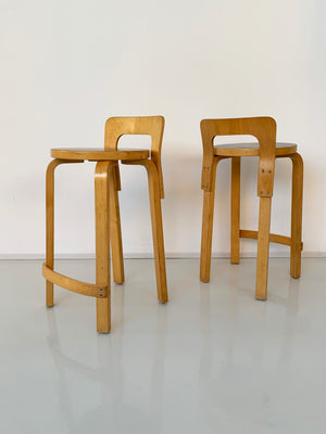 Pair of 1960s Black Top K65 Alvar Aalto Stools