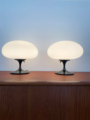 1960s Black Base with Frosted Glass Mushroom Shade Laurel Lamp