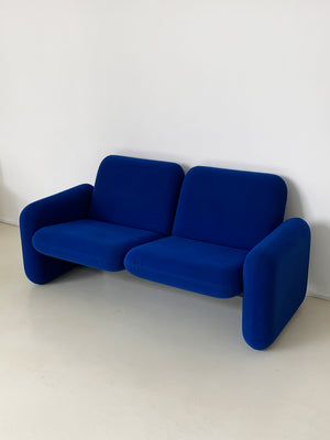 1970s Cobalt Ray Wilkes Chiclet 2-Seater for Herman Miller