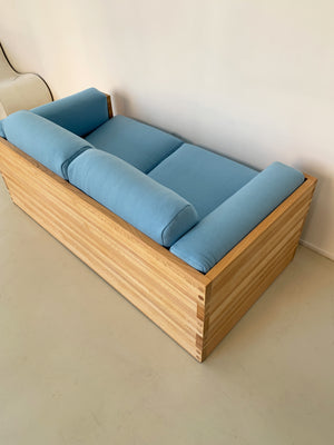 1970s Oak Case Sofa in Blue Wool