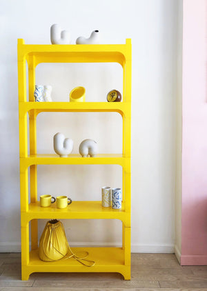 Vintage 1970s Plastic Modular Yellow Bookcase