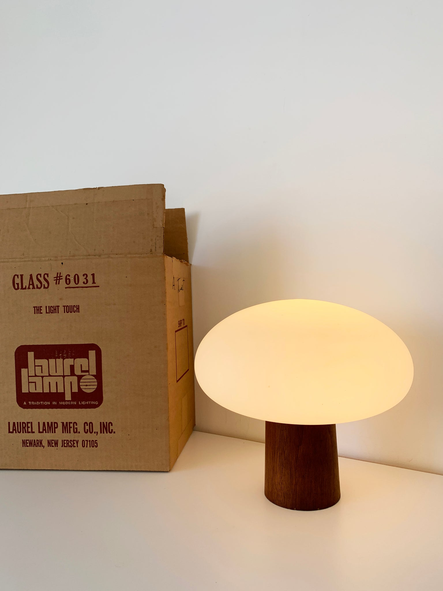 Mid Century Teak Base Laurel Lamp W/ Frosted Glass Mushroom Shade