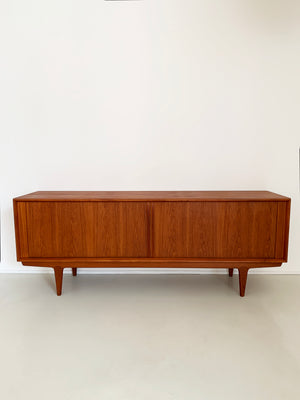 1960s Bernhard Pedersen and Son Teak Tambour Door Credenza Model 156