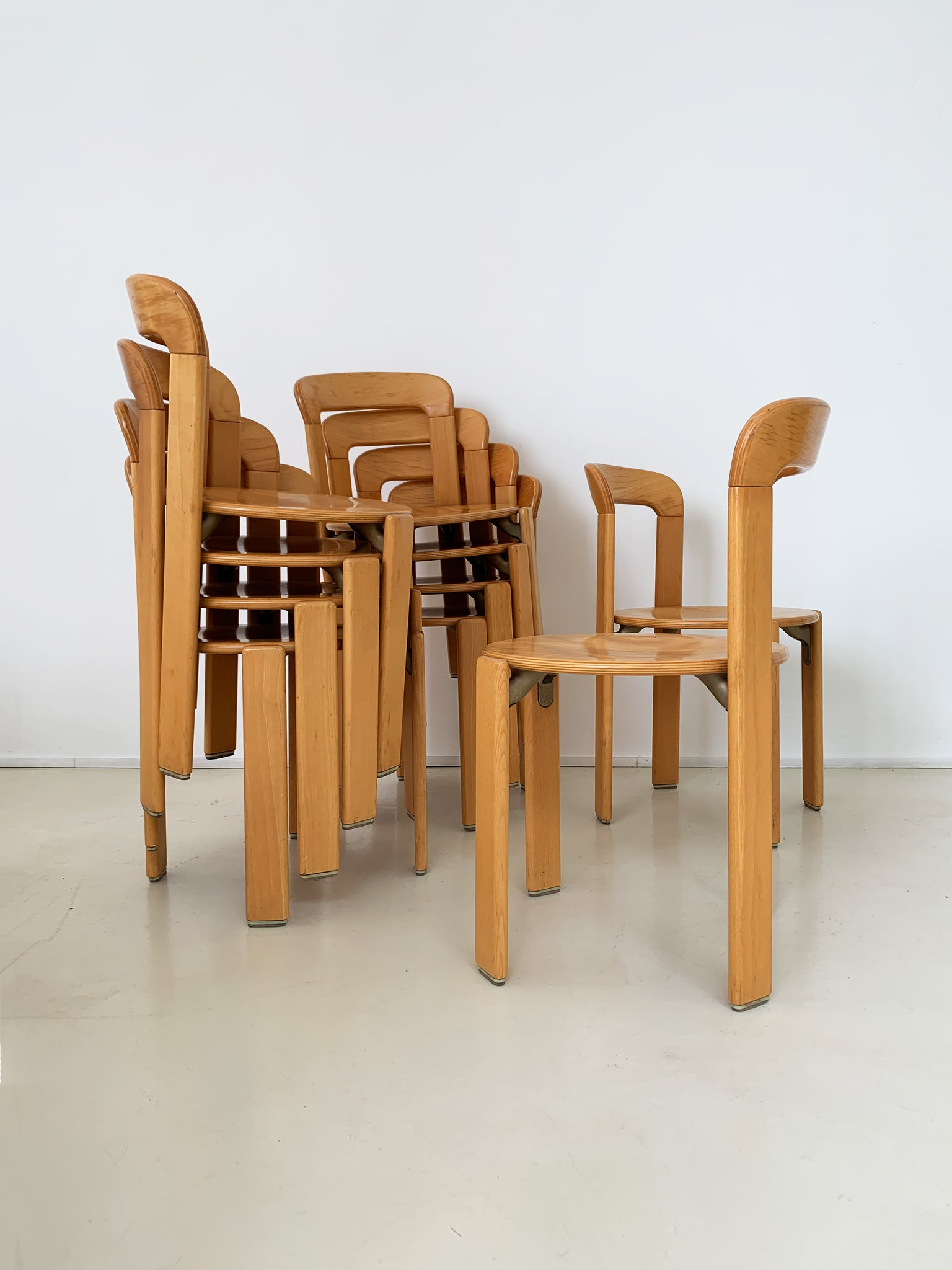 1970s Beech Rey Stacking Chairs Designed by Bruno Rey
