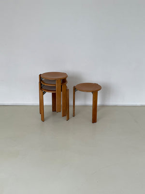 "Bruno Rey Set of 4 ""Rey"" Stacking Stools in Oak"