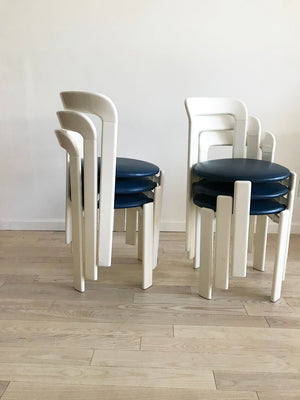 1970s Bruno Rey White Stacking Chairs-Set of 6
