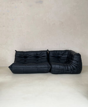 Black Leather Togo Sofa by Michel Ducaroy for Linge Roset
