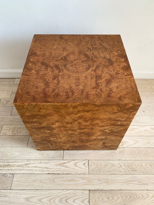 1970s Elm Burl Wood Cube Side Table