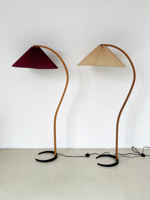 1970s Pleated Shade Curved Floor Lamp by Mads Caprani