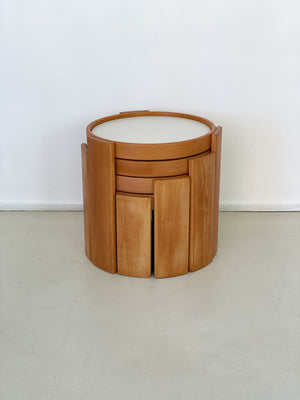 "1960s Gianfranco Frattini for Cassina Beechwood Stacking ""780"" Table Set"