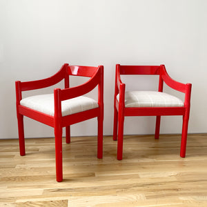 "Vintage pair of ""Carimate"" Chairs by Vico Magistretti For Cassina, Italy 1959"