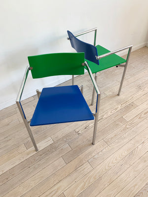 1970s Chrome Italian Arm Chair in Blue and Green
