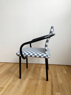 Vintage Ettore Sottsass for Knoll Mandarin Chair in Grey Checked Print - Single