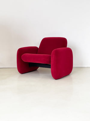 1970s Ray Wilkes Chiclet Club Chair in Raspberry