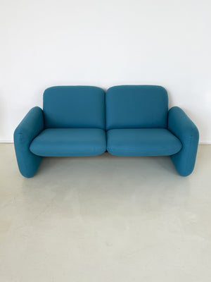1970s Teal Ray Wilkes Chiclet 2-Seater for Herman Miller