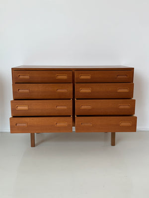 1960s danish Teak 8-Drawer Small Credenza by Carlo Jensen