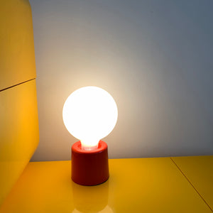 Vintage Atomic Orange Plastic Orb Table Lamp
