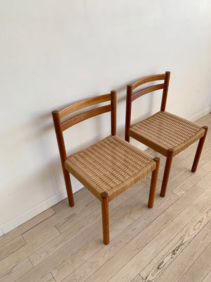 Pair of Mid Century Teak Danish Cord Dining Chairs