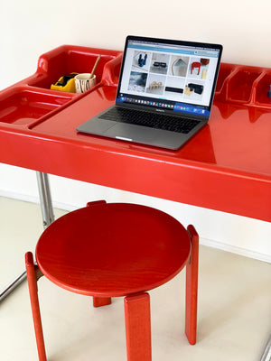1970s Italian Space Age Orix Red Plastic Desk