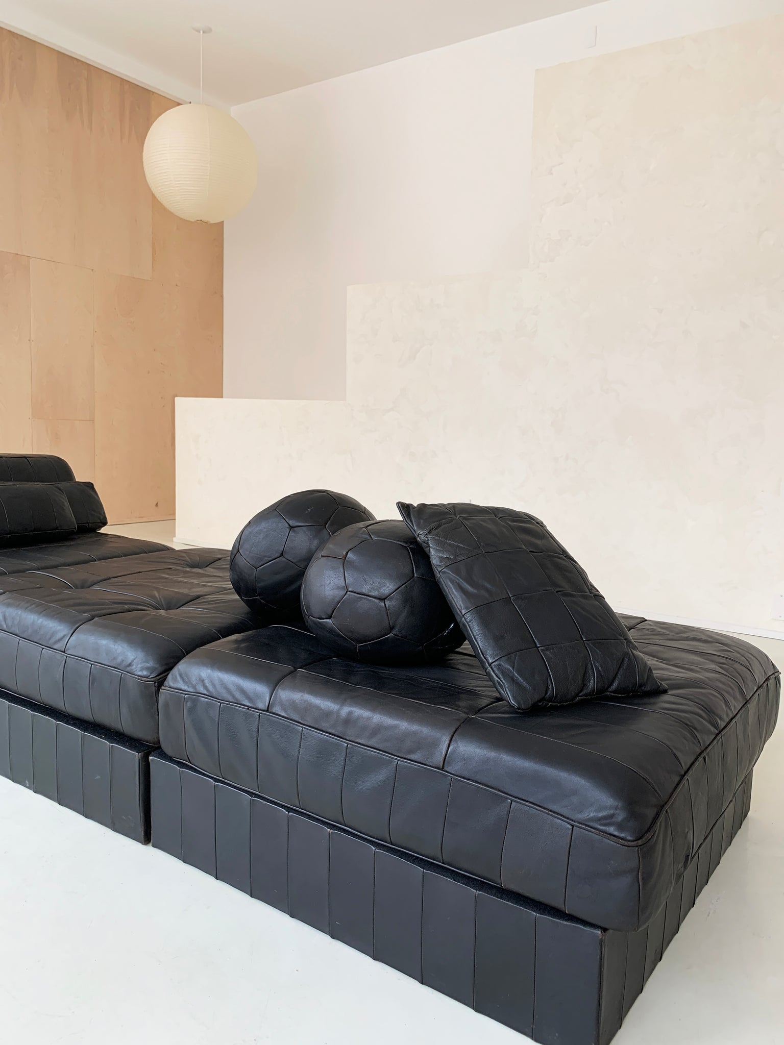 1970s Black Leather Patchwork DS 88 Modular Sofa-Bed by De Sede, Switzerland