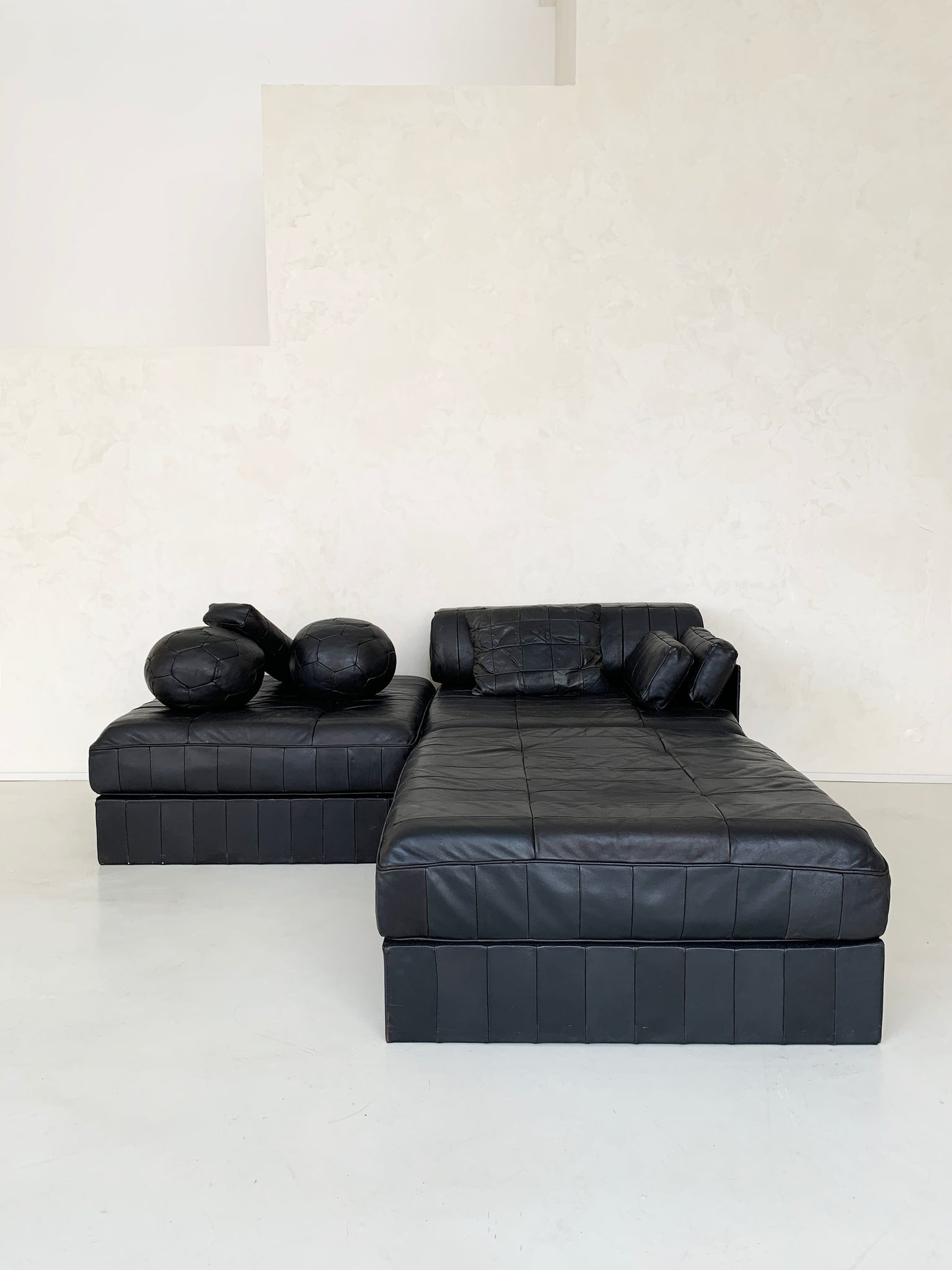 1970s Black Leather Patchwork DS 88 Modular Sofa-Bed by De Sade, Switzerland