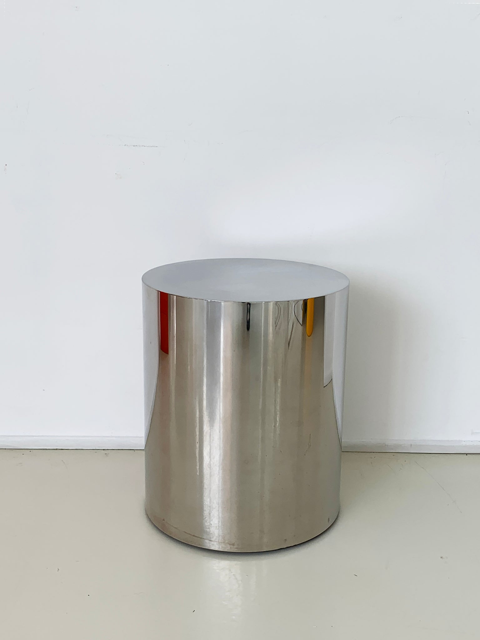 1970s Chrome Drum Side-Table