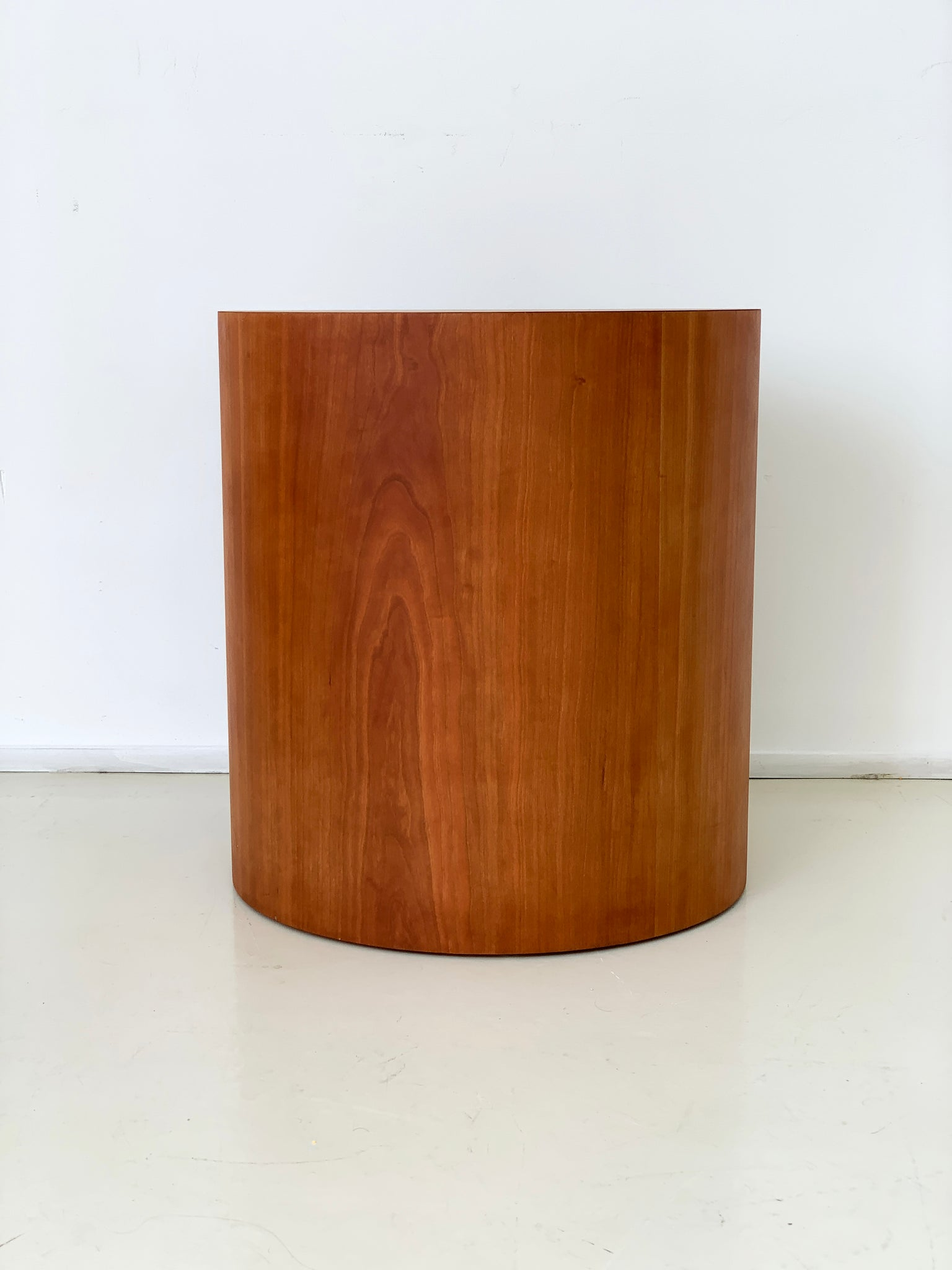 1970s Cherry Wood Drum Side Table