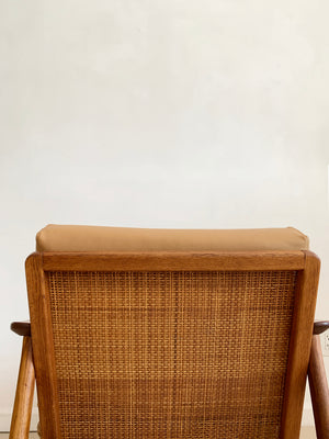 1960s Fumed Oak Folke Ohlsson for Dux Leather Lounge Chair W/ Cane Back