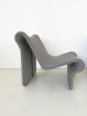 1970s Striped Swedish 099 Easy Chair by Jan Dranger and Johan Huldt