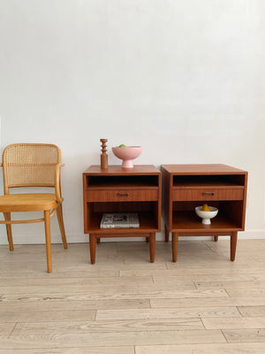 Mid Century Teak Pair of Arne Vodder Nightstands for Falster - Set