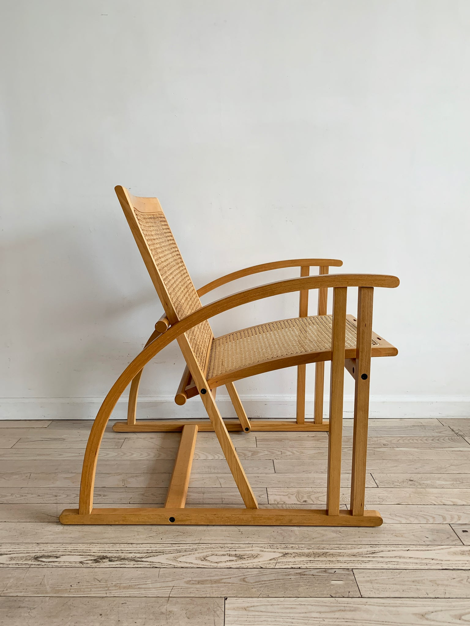 1984 French Beech Wood and Cane Lounge Chair by Pascal Mourgue