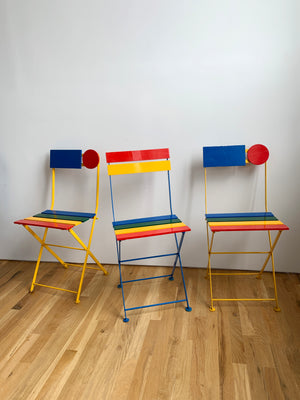 1980s French Multi-Colored Folding Chairs by Denis Ballnd