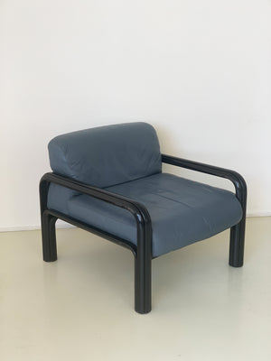 1970s Grey Leather Gae Aulenti For Knoll Lounge Chair