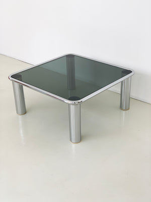 "1968 Chrome and Smoked Glass ""Sesann"" Coffee Table by Gianfranco Frattini for Cassina"