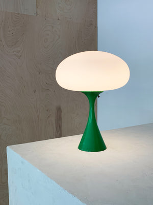 1960s Green Laurel Lamp with Frosted Mushroom Shade Table Lamp