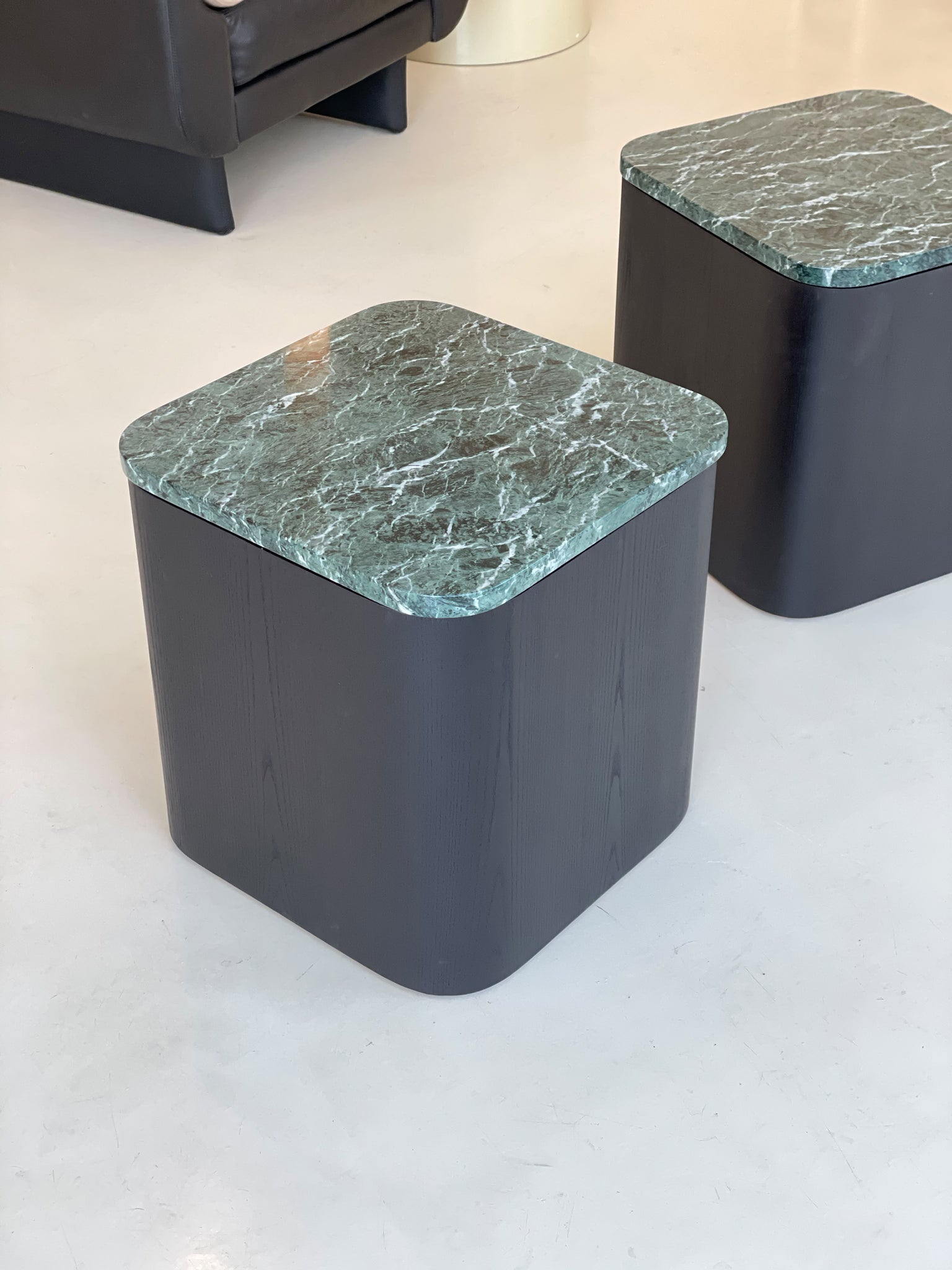 Vintage Paul Mayen Cube Tables with Green Marble