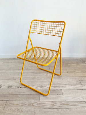 Yellow Metal Grid Folding Chair by Niels Gammelgaard for IKEA, 1979
