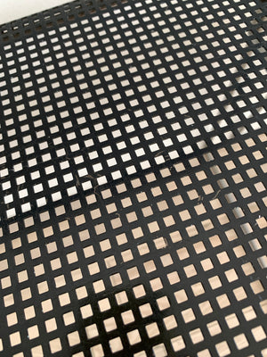 Pair of 1970s Black Metal Stacking Grid Chairs by Niels Jørgen Hybodan, Denmark