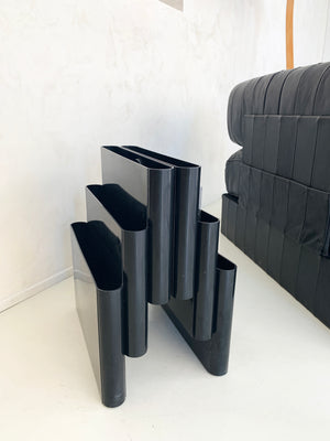 1970s Black Plastic Kartell 3-Tiered Magazine Rack