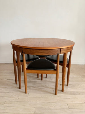 "Mid Century ""Roundette"" Teak Dining Table w/4 Chairs by Hans Olsen for Frem Røjle"