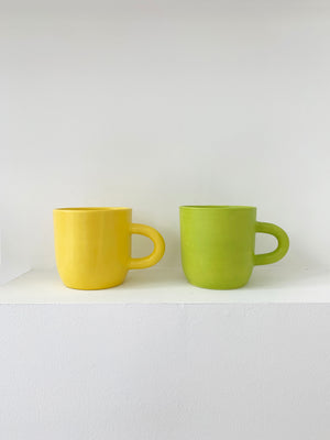 Handmade Ceramic Happy Mug - Yellow, Lime Green