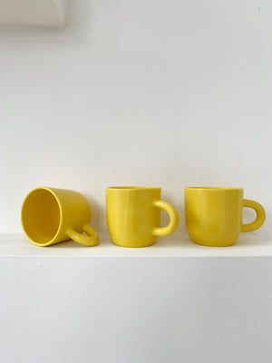 Yellow ceramic Handmade Happy Mug